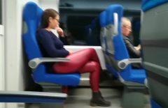 يظهر صاحب الديك لراكبة في القطار